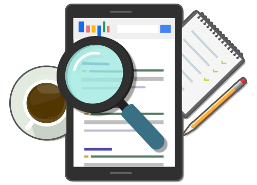 illustration of a magnifying glass analyzing search rank on Google displayed on a tablet